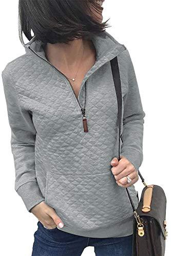 BTFBM Women Fashion Quilted Pattern Lightweight Zipper Long Sleeve Plain Casual Ladies Sweatshirts Pullovers Shirts Tops (Light Grey, Medium)