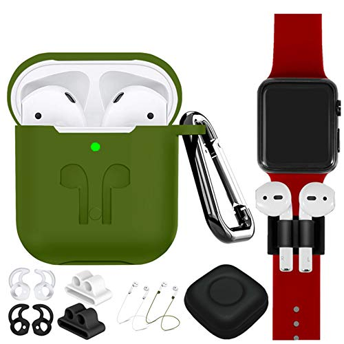 AirPods Case Cover Compatible Apple Airpods 2 & 1[Front LED Visible],9 in 1 Kits Airpods Accessories Set Protective Silicone Skin with Earpods Watch Band Holder/Ear Hook/Stap/Clip/Keychain/Grip-Green