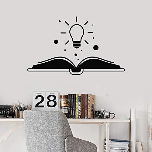 HFDHFH Etiqueta de la Pared Bombilla de luz Creativa Libro Abierto Historia de Lectura Biblioteca Sala de Lectura Aula decoración Interior Vinilo Ventana Pegatina Mural