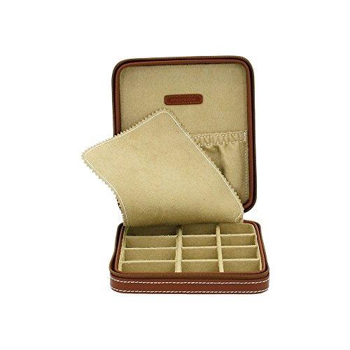 Etui CORDOBA aus echtem braunem Leder für 12 Manschettenknopfpaare oder 12 Charms