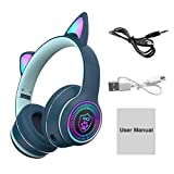 DASNTERED Auriculares inalámbricos, auriculares inalámbricos Bluetooth para juegos con micrófono Cat Ear Bluetooth 5.0 Deep Bass Auriculares inalámbricos portátiles para juegos
