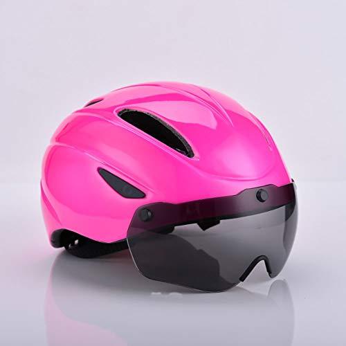 Stella Fella Cascos para hombre con gafas magnéticas, casco integrado para bicicleta de montaña, casco transpirable para hombres y mujeres, color rosa
