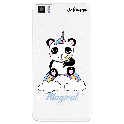 dakanna Funda Compatible con [Bq Aquaris M5.5 - M 2017] de Silicona Flexible, Dibujo Diseño [Panda Unicornio Magico], Color [Fondo Transparente] Carcasa Case Cover de Gel TPU para Smartphone