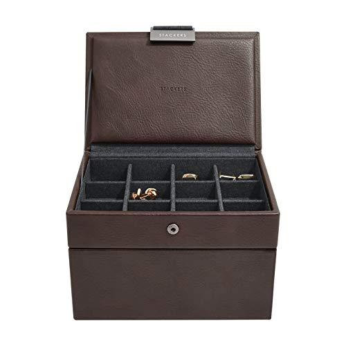 Stackers Herren-Uhrenbox mit Manschettenknöpfen, 2 Stück Minimalistisch braun