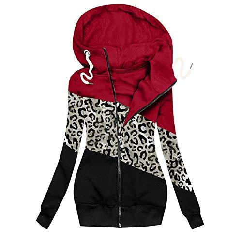 Lazzboy Winterjacke Frauen Winter Leopard Prints Patchwork Jacke Reißverschluss Sweatshirt Langarm Mantel Hoodie Damen Oversize Sweatjacke Hoher Kragen S-3XL (Rot,S)