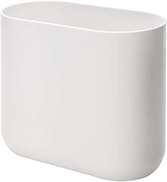 IDesign Cade Oval Slim Trash Can Compact Waste Basket Garbage Can For Bathroom Bedroom Home Office Dorm College Matte White Gray