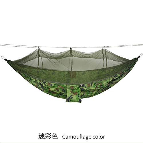 Jun7L Lightweight Outdoor Hammock With Mosquito Net Parachute Hammock Swing Suitable For Garden Travel Camping Travel Camping Hammock (Color : Camouflage (polyester), Size : 260x140cm)