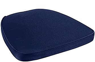 Yanel Blue Chair Pad | Seat Padded Cushion |Polycore Thread Soft Fabric, Straps and Removable Zippered Cover