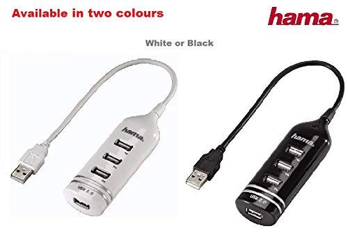 Hama 4-Port USB-2.0 Hub ohne Netzteil, kompatibel auch mit Windows 10, schwarz