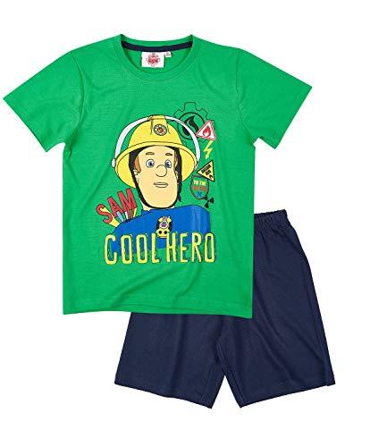 Feuerwehrmann Sam Jungen Shorty-Pyjama - grün - 104