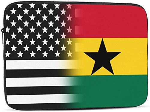 Black and White USA Ghana Flag Laptop Sleeve Bag Compatible with 10-17 Inch Classic Computer Bag Laptop Case-Black And White USA Ghana Flag,10inch