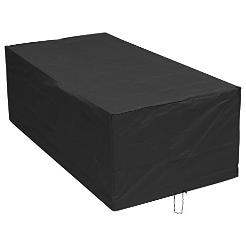 Woodside Black 6-8 Seater Rectangular Waterproof Outdoor Garden Patio Furniture Set Cover Heavy Duty 600D Material 0.8m x 2.45m x 1.2m / 2.6ft x 8ft x 3.9ft 5 YEAR GUARANTEE