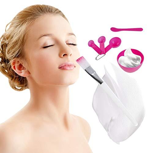 4 En 1 Portable Taille Femmes DIY Masque Facial Outils De Maquillage Pratique Masque Facial Mélange Bol Brosse Cuillère Bâton Outils Set-rose rouge