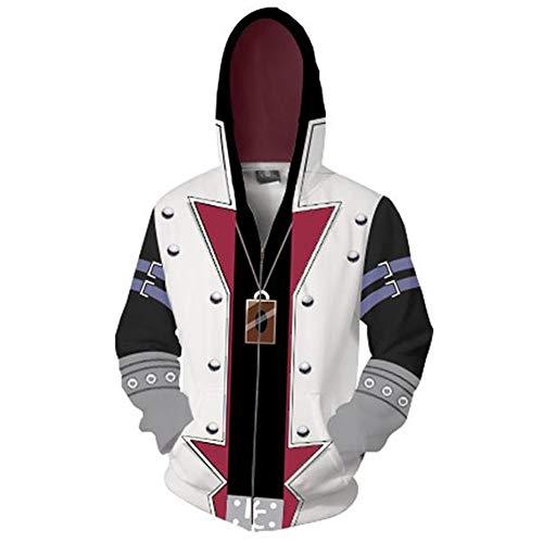 Zhangjianwangluokeji Yu-Gi-Oh Sammelkartenspiel-Spieler Cosplay Hoodie 3D gedruckte Reißverschluss-Jacken-Sweatshirt (X-Large, Weiß)
