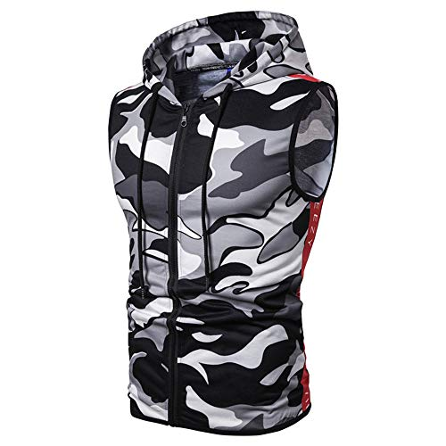 ZZOU Mens Hooded Sleeveless Vest Style Military Outdoor Gym Running Cycling Sportswear Tank Top Casual Camouflage Slim Fit Zipper Pullover Tracksuit Tops T-Shirts Hoodie Blouse Clothes Camo Hoody