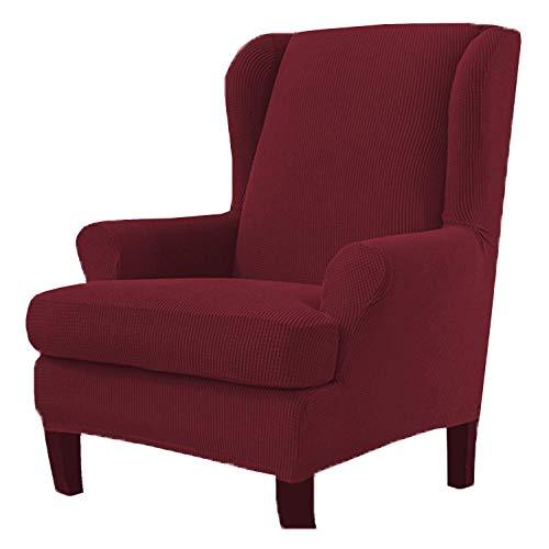 Jonist Funda para sillón de Orejas Funda de sofá de 2 Piezas para sillón de Orejas Protector de Muebles Fundas de Spandex para sofá Lavables a máquina, Duradera