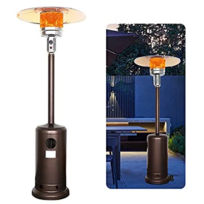 Kakashi Outdoor Patio Heater Propane Heater 48,000BTU Standing LP Gas Propane Outdoor Heater with Pulley Accessories for Commercial, Patio, Courtyard, Garden (Bronze)