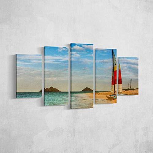 GONGXIANG Quadri Moderni Stampa di Immagini Artistica Digitalizzata Barca A Vela sulla Riva Tela Decorativa per Soggiorno O Stanza da Letto 5 Pezzi 150X80Cm