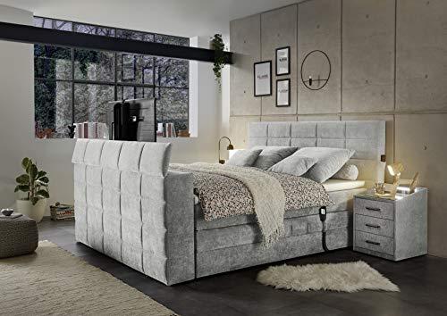 MöbisandMore Designer Boxspringbett Dubai 180x200 cm mit Motor elektrisch und Tv Halterung   Härtegrad H3 bis 130 KG   7-Zonen-Tonnentaschenfederkern und Topper