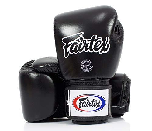Fairtex Muay Thai Boxing Gloves. BGV1-BR Breathable Gloves. Color: Solid Black. Size: 12 14 16 oz. Training, Sparring Gloves for Boxing, Kick Boxing, MMA (Black, 16 oz)