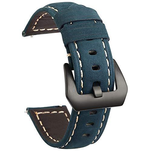 Brting Sorteo Banda de Reloj de Cuero Genuino de 20 mm de 22 mm para Amazfit para Huawei para Samsung Galaxy Watch Active2 46mm 42mm Gear S3 Strap Straps Reemplazo