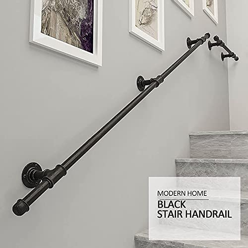 ZCJH Staircase Handrails Indoor -1ft-20ft Wall Mount Industrial Iron Pipe - Metal Railing Non-Slip Grab Bar - Stairs Porch Deck Hand Rail Matte Black (Size : 10ft)