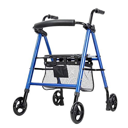 ZHHB Älterer 4-Rad-GEH-Rollator, Höhe Verstellbar Leichte Faltbare Gehhilfe Faltbar Gepolstertem Sitz Für Kofferraum, Reise Und Flug