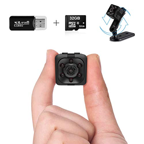 Mini Spy Camera Wireless Hidden Spy Cop Cam Seen on TV,1080P Mini Hidden Camera with 32G SD Card, Nanny Cam Night Vision Camera with Motion Detection