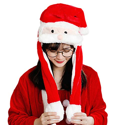 SINLOOG Plush Christmas Hats with Moving Ears Cute Santa Hat Comfy Reindeer Hat Air Bags in Paws Make Ears Wiggle (Santa Claus)