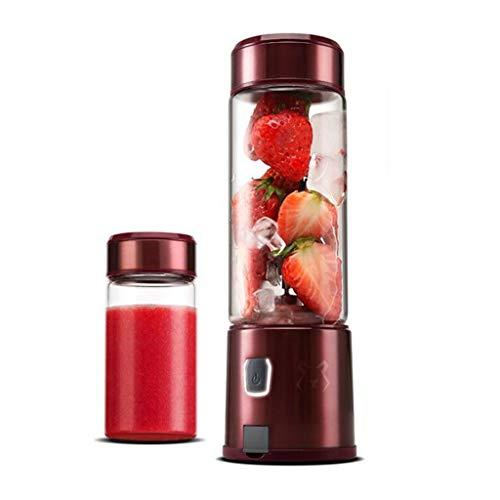 Shi xiang shop Portátil de Viaje Blender con la Taza, Mini Exprimidor for Hacer Agitar y Batido de Frutas, USB Recargable 450ml Personal Batidora Exprimidor Taza de la Fruta del Mezclador, Rojo