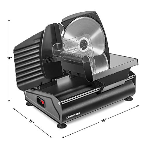 Chefman Die-Cast Electric Deli & Food Slicer, Cuts Meat, Cheese, Bread, Fruit & Vegetables, Adjustable Slice Thickness, Stainless Steel Blade, Safe Non-Slip Feet, For Home Use, Easy To Clean, Black