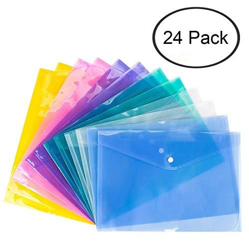 Duidelijke documentmap met drukknoop, Premium kwaliteit poly envelop, US Letter / A4 formaat, Set van 24 in 6 geassorteerde kleuren, blauw, groen, oranje, wit, paars, roze