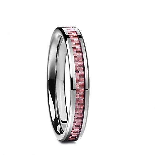 N-A 4 mm Polished Inlaid Pink Carbon Fiber Man Finger Rings Wedding Tungsten Carbide Ring for Male Jewelry As The Picture 12