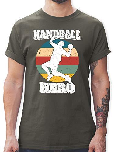 Handball - Handball Hero - weiß - S - Dunkelgrau - Handballspieler - L190 - Tshirt Herren und Männer T-Shirts