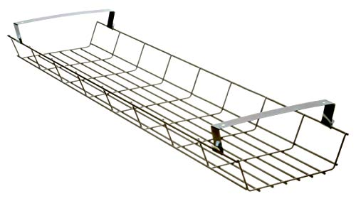 Ergobasis Gitterkabelkanal 1200 mm lang, robustes Drahtkonstrukt, für JEDEN Schreibtisch zum Unterbau, Platz für Netzteile, Steckdosen, Adapter und lange Kabel, Kabelkorb und Kabel-Management