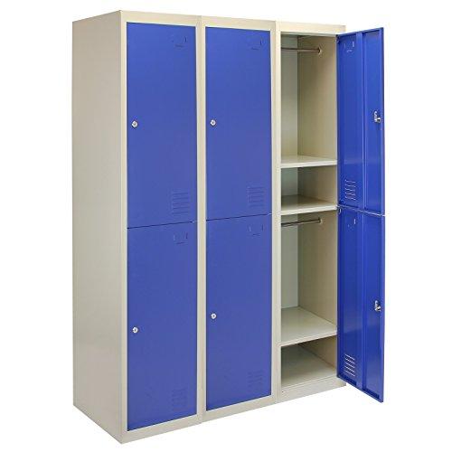 MonsterShop - 3 Taquillas para Ensamblar con 2 Puertas Azules de Acero 45cm x 114cm x 180cm para Escuelas, Gimnasios y Vestuarios