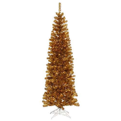 Vickerman 7.5' Antique Gold Pencil Artificial Christmas Tree, Warm White Dura-lit LED Lights. - Faux Pencil Christmas Tree - Seasonal Indoor Home Decor