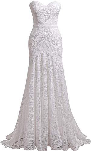 CGown Bohemian Hochzeitskleider mit abnehmbaren Armbändern Sweetheart Mermaid Spitze Brautkleid Gr. 38, Elfenbeinfarbener Reißverschluss