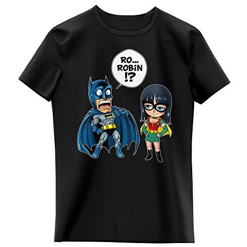 T-Shirt Enfant Fille Noir Parodie One Piece - Batman - Batman et Robin - Une équipe de Choc !! (T-Shirt Enfant de qualité Premium de Taille 7-8 Ans - imprimé en France)