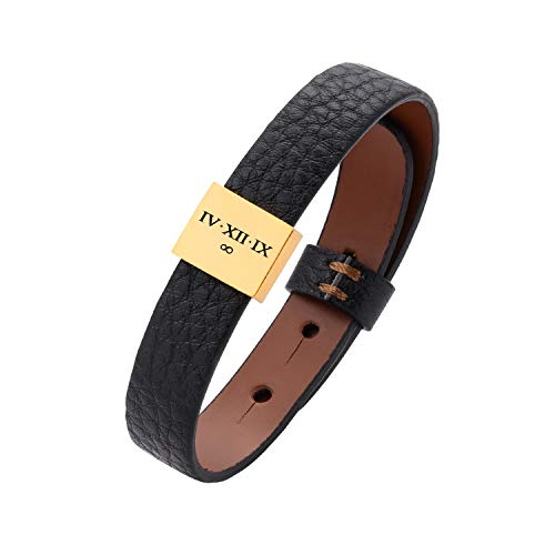 MignonandMignon Personalized Leather Mens Personalized Bracelet Gift For Him Genuine Leather Coordin…