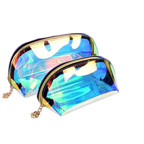 ASDAF Sac cosmétique Laser imperméable Holographic Sac de Maquillage Sac PVC Transparent Wash Sac de Toilette Organisateur Voyage Case,L