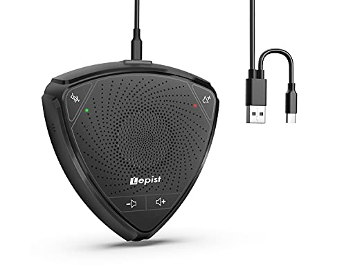USB Speakerphone, Lepist Computer Speakers with Micrphone for Home Office Conference Calls, Laptop Mic with 360° Voice Pickup, Touch Control, Noise Reduction, Mute/Unmute, Volume Control, LE2101