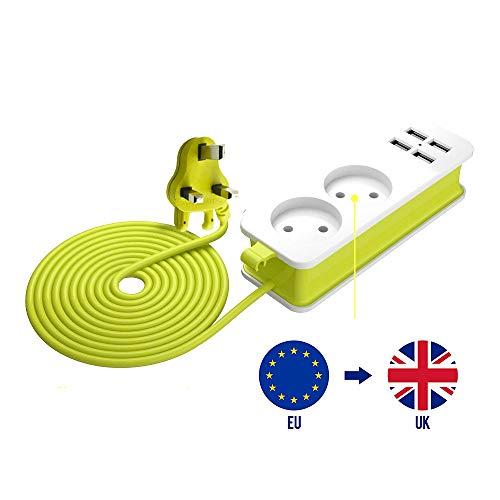 Jeebel Reiseadapter, UK Euro Reisestecker mit UK-Stecker, Steckdosenleiste 2-Fach,4 USB mit 2.1A Schnellladung,1,5 m Kabel