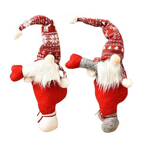 JIAL 2PS Weihnachten schwedische gesichtslose Santa GNOME Puppe Weihnachtsbaum hängen Ornament Puppen Fenster Vorhang Schnalle Krawatte zurück Halter Dekor Geschenke Chongxiang