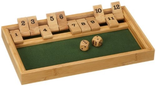 Philos Philos_3271 3271 - Shut The Box 12er, Bambus, Green Games, Würfelspiel, Klappenspiel