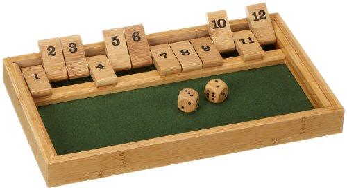 Philos Philos_3271 3271 - Shut The Box 12er, Bambus, Green Games, Würfelspiel, Klappenspiel