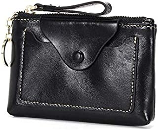 Genuine Leather Travel Small Top Zip Coin Pouch ID Card Case Wallet (BLACK)