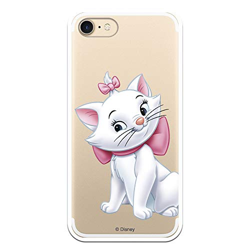 Custodia per iPhone 7 - iPhone 8 - iPhone SE 2020 ufficiale degli Aristogatos Marie Silueta per proteggere il tuo cellulare Cover per Apple in silicone flessibile con licenza ufficiale Disney.