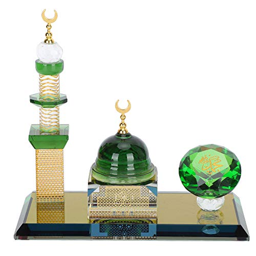 Pssopp Muslim Crystal Ornaments, Islamic Dome Mosque Architecture Model for Car Desktop Decoration