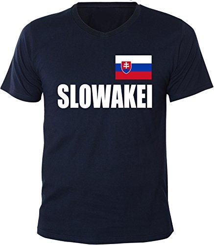 Mister Merchandise Herren V-Ausschnitt T-Shirt Slowakei Fahne Flag, V-Neck, Größe: XL, Farbe: Navy
